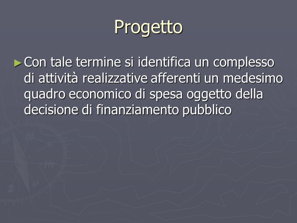 Progetto ► Con tale termine si identifica un complesso di attività realizzative afferenti un medesimo quadro economico di spesa oggetto della decisione di finanziamento pubblico