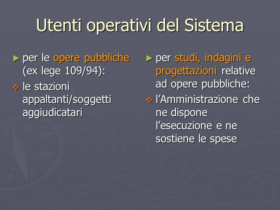 Utenti operativi del Sistema ► per le opere pubbliche (ex lege 109/94):  le stazioni appaltanti/soggetti aggiudicatari ► per studi, indagini e proget