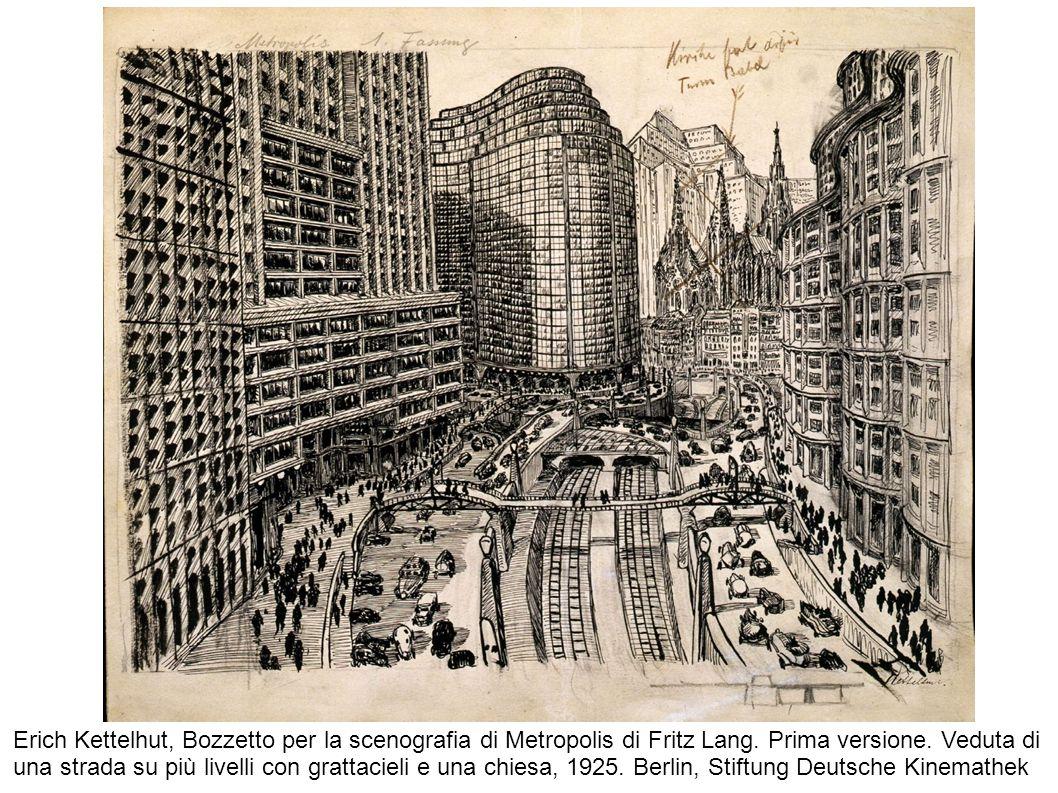 Erich Kettelhut, Bozzetto per la scenografia di Metropolis di Fritz Lang. Prima versione. Veduta di una strada su più livelli con grattacieli e una ch