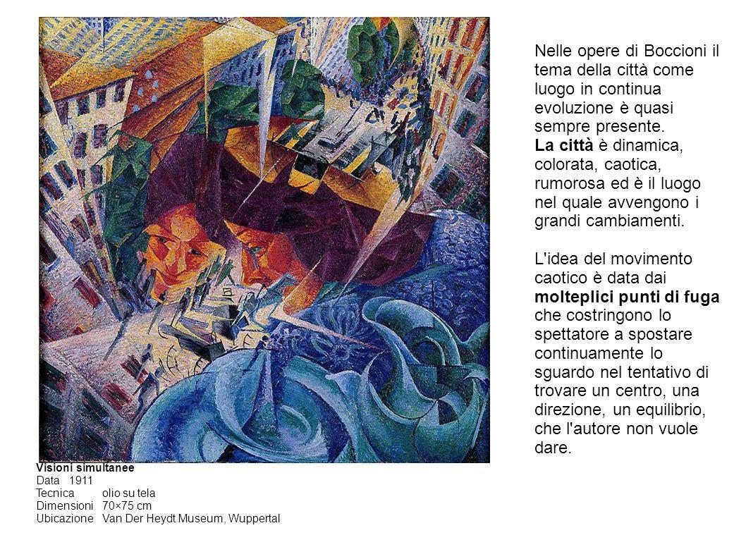 Visioni simultanee Data1911 Tecnicaolio su tela Dimensioni70×75 cm UbicazioneVan Der Heydt Museum, Wuppertal Nelle opere di Boccioni il tema della città come luogo in continua evoluzione è quasi sempre presente.