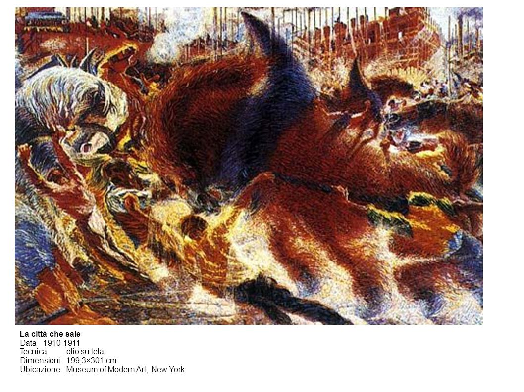 La città che sale Data1910-1911 Tecnicaolio su tela Dimensioni199,3×301 cm UbicazioneMuseum of Modern Art, New York