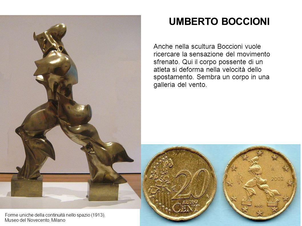 UMBERTO BOCCIONI Forme uniche della continuità nello spazio (1913), Museo del Novecento, Milano Anche nella scultura Boccioni vuole ricercare la sensa