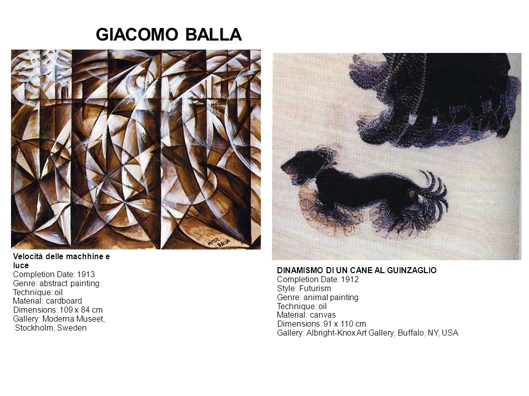 GIACOMO BALLA Velocità delle machhine e luce Completion Date: 1913 Genre: abstract painting Technique: oil Material: cardboard Dimensions: 109 x 84 cm