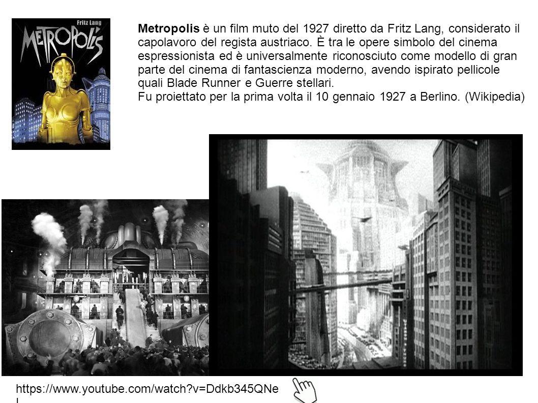 https://www.youtube.com/watch?v=Ddkb345QNe I Metropolis è un film muto del 1927 diretto da Fritz Lang, considerato il capolavoro del regista austriaco