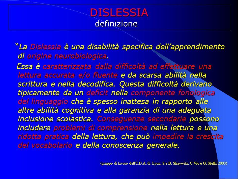 """DISLESSIAdefinizione """" La Dislessia è una disabilità specifica dell'apprendimento di origine neurobiologica. Essa è caratterizzata dalla difficoltà ad"""