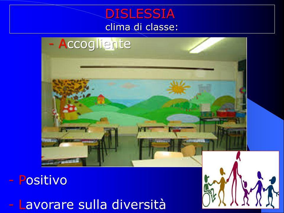 DISLESSIA clima di classe: - Accogliente - Accogliente - Positivo - Lavorare sulla diversità