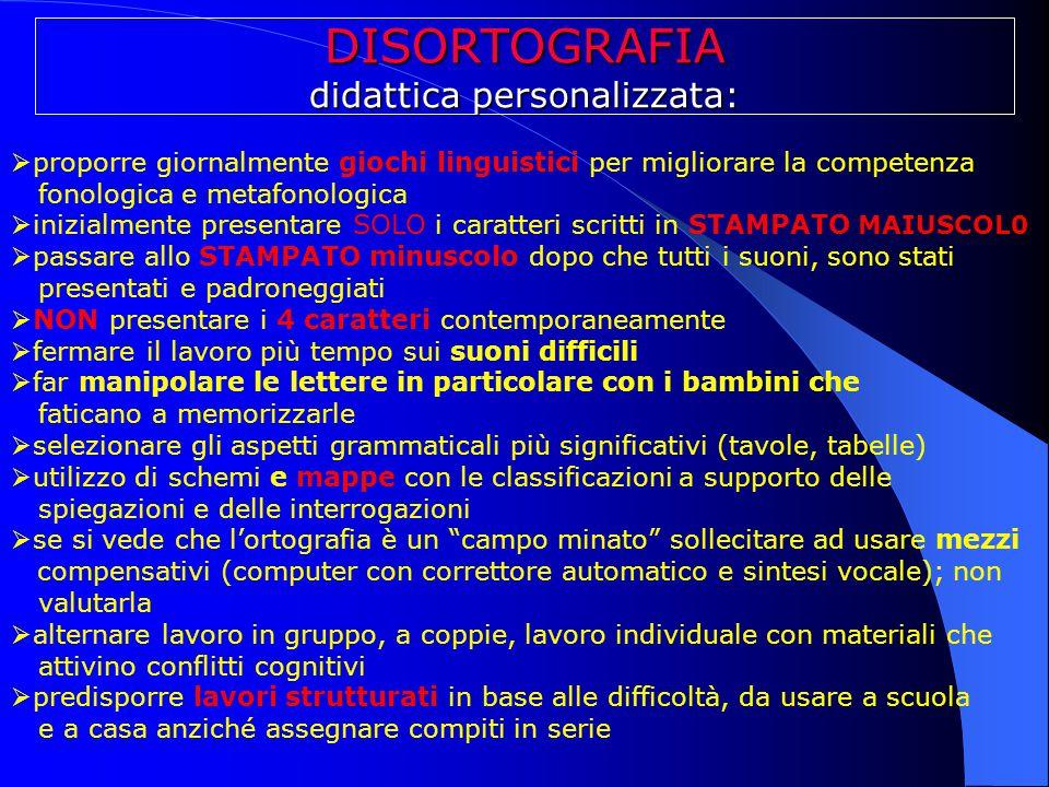 DISORTOGRAFIA didattica personalizzata:  proporre giornalmente giochi linguistici per migliorare la competenza fonologica e metafonologica  inizialm