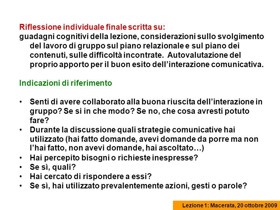 Riflessione individuale finale scritta su: guadagni cognitivi della lezione, considerazioni sullo svolgimento del lavoro di gruppo sul piano relazionale e sul piano dei contenuti, sulle difficoltà incontrate.