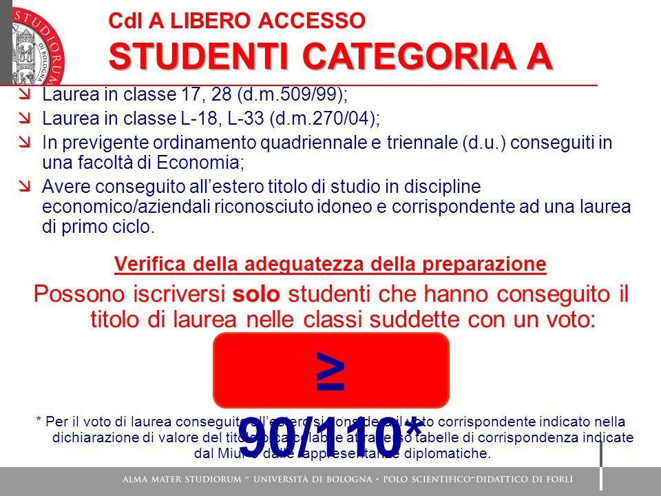 Cdl A LIBERO ACCESSO STUDENTI CATEGORIA A  Laurea in classe 17, 28 (d.m.509/99);  Laurea in classe L-18, L-33 (d.m.270/04);  In previgente ordinamento quadriennale e triennale (d.u.) conseguiti in una facoltà di Economia;  Avere conseguito all'estero titolo di studio in discipline economico/aziendali riconosciuto idoneo e corrispondente ad una laurea di primo ciclo.