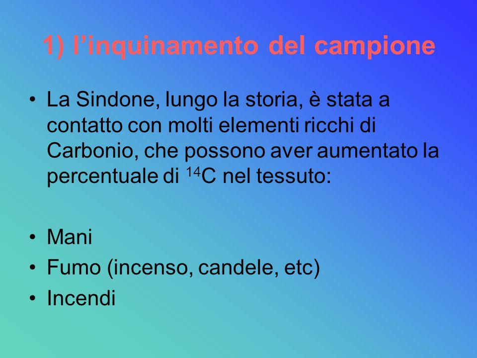 1) l'inquinamento del campione La Sindone, lungo la storia, è stata a contatto con molti elementi ricchi di Carbonio, che possono aver aumentato la percentuale di 14 C nel tessuto: Mani Fumo (incenso, candele, etc) Incendi