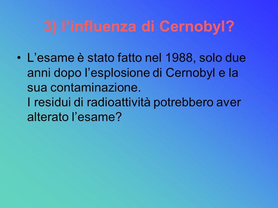 3) l'influenza di Cernobyl? L'esame è stato fatto nel 1988, solo due anni dopo l'esplosione di Cernobyl e la sua contaminazione. I residui di radioatt