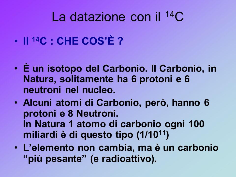 La datazione con il 14 C Il 14 C : CHE COS'È ? È un isotopo del Carbonio. Il Carbonio, in Natura, solitamente ha 6 protoni e 6 neutroni nel nucleo. Al