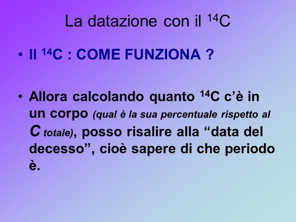 La datazione con il 14 C Il 14 C : COME FUNZIONA ? Allora calcolando quanto 14 C c'è in un corpo (qual è la sua percentuale rispetto al C totale), pos