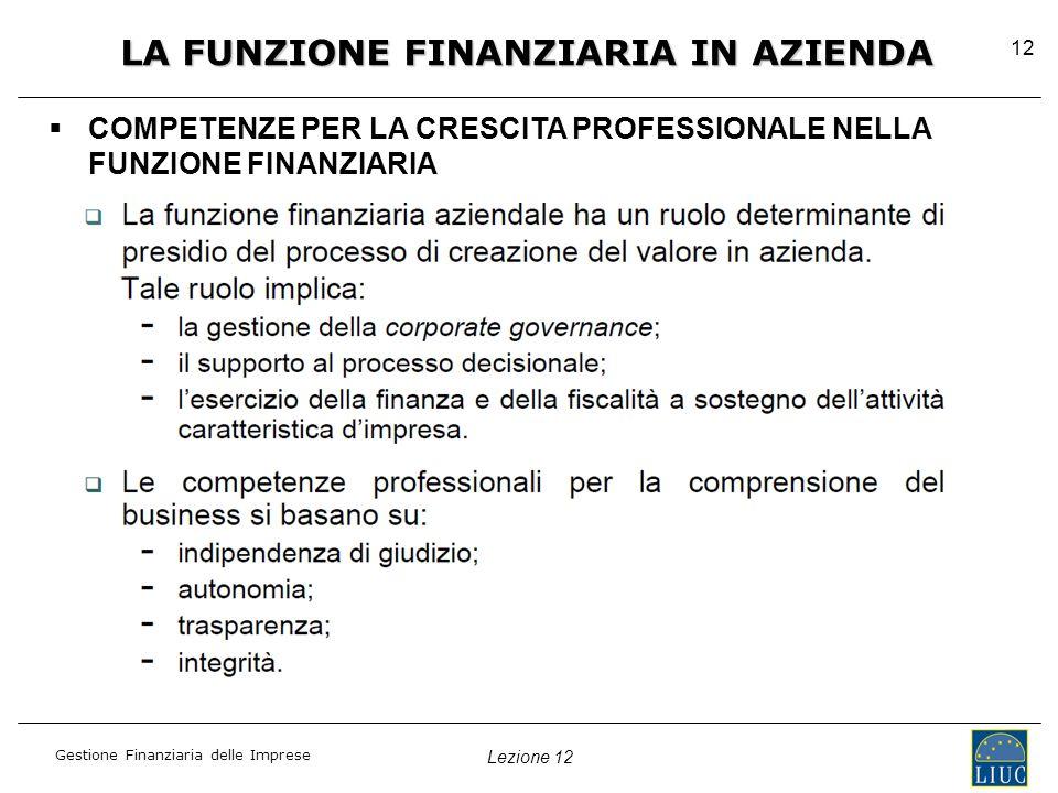 Lezione 12 Gestione Finanziaria delle Imprese 12 LA FUNZIONE FINANZIARIA IN AZIENDA   COMPETENZE PER LA CRESCITA PROFESSIONALE NELLA FUNZIONE FINANZIARIA