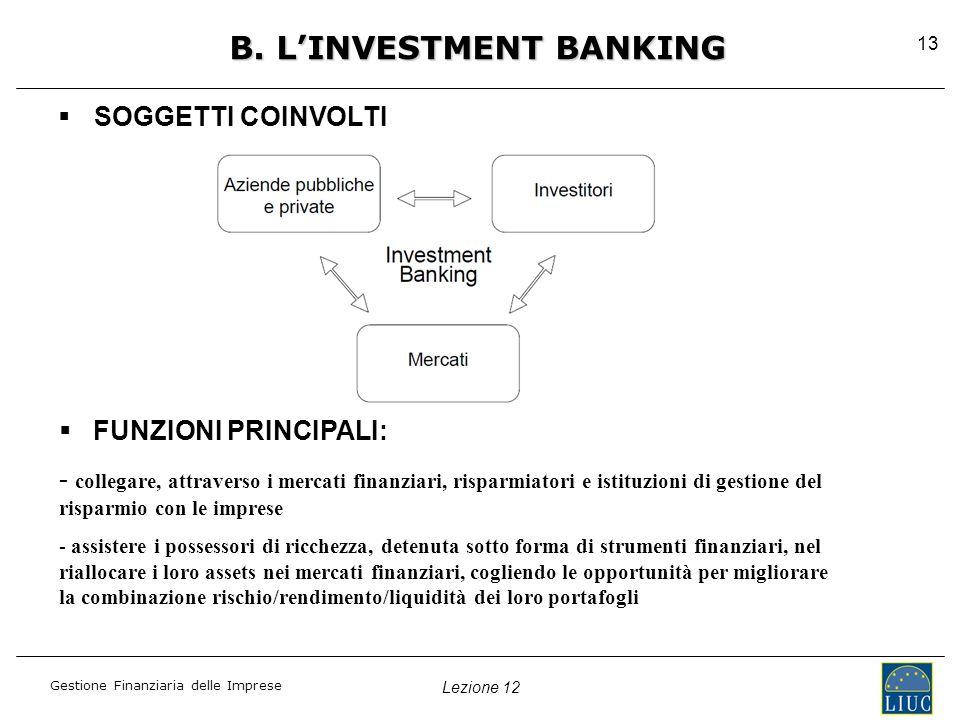 Lezione 12 Gestione Finanziaria delle Imprese 13 B.