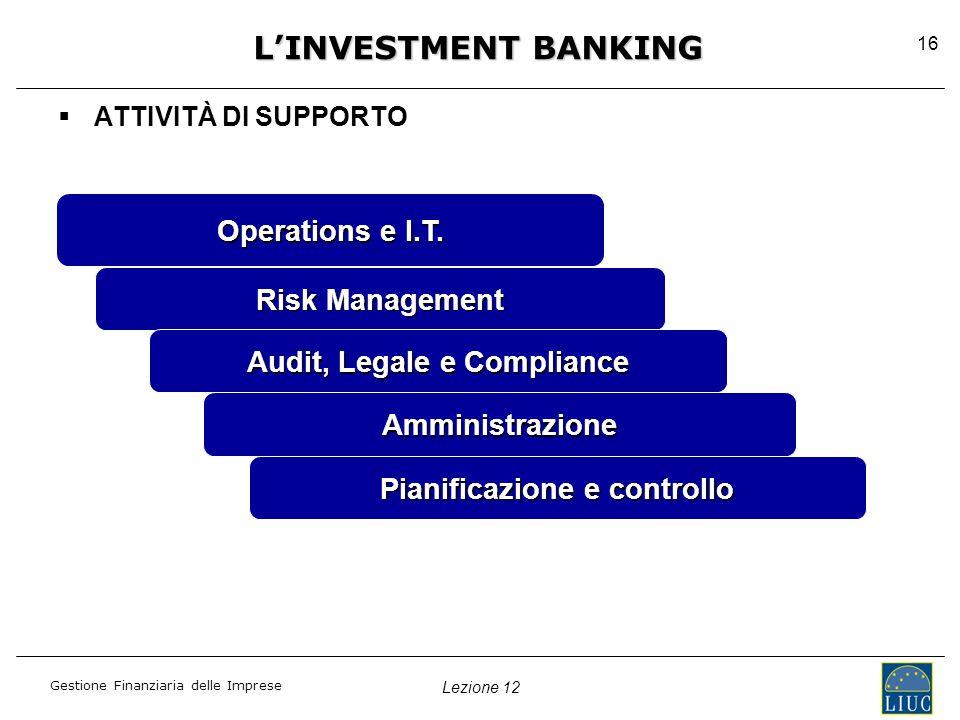 Lezione 12 Gestione Finanziaria delle Imprese 16  ATTIVITÀ DI SUPPORTO L'INVESTMENT BANKING Operations e I.T.