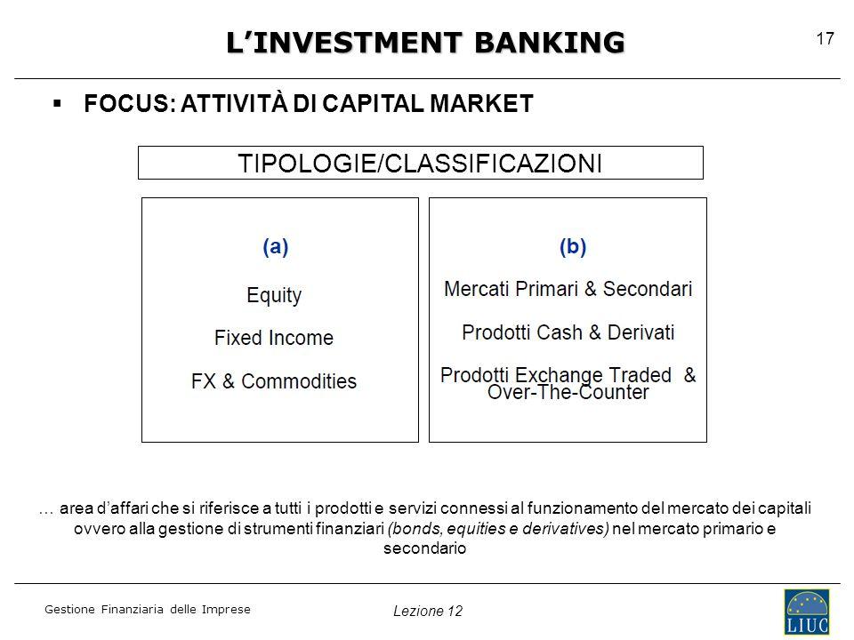 Lezione 12 Gestione Finanziaria delle Imprese 17   FOCUS: ATTIVITÀ DI CAPITAL MARKET L'INVESTMENT BANKING TIPOLOGIE/CLASSIFICAZIONI … area d'affari che si riferisce a tutti i prodotti e servizi connessi al funzionamento del mercato dei capitali ovvero alla gestione di strumenti finanziari (bonds, equities e derivatives) nel mercato primario e secondario