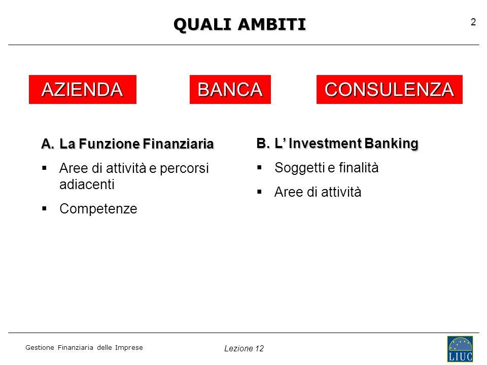 Gestione Finanziaria delle Imprese 2 QUALI AMBITI AZIENDABANCACONSULENZA A.La Funzione Finanziaria   Aree di attività e percorsi adiacenti   Competenze B.L' Investment Banking   Soggetti e finalità   Aree di attività