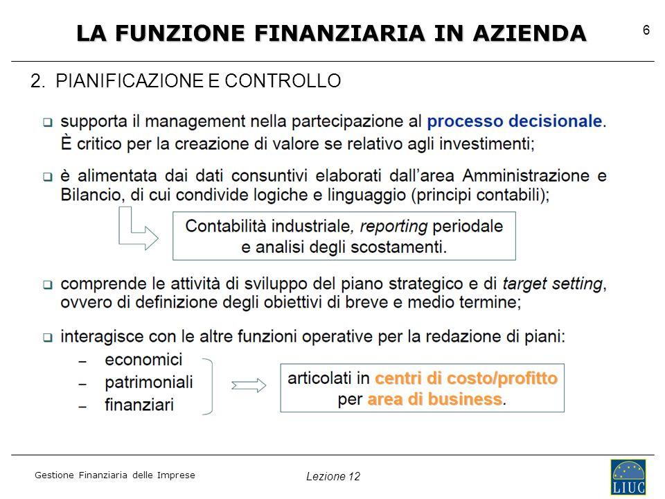 Lezione 12 Gestione Finanziaria delle Imprese 6 2.
