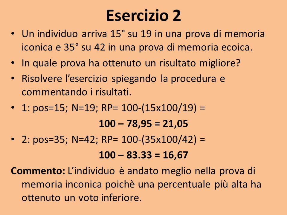 Esercizio 2 Un individuo arriva 15° su 19 in una prova di memoria iconica e 35° su 42 in una prova di memoria ecoica.