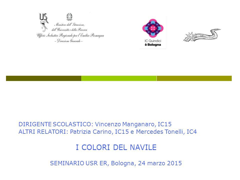 DIRIGENTE SCOLASTICO: Vincenzo Manganaro, IC15 ALTRI RELATORI: Patrizia Carino, IC15 e Mercedes Tonelli, IC4 I COLORI DEL NAVILE SEMINARIO USR ER, Bol