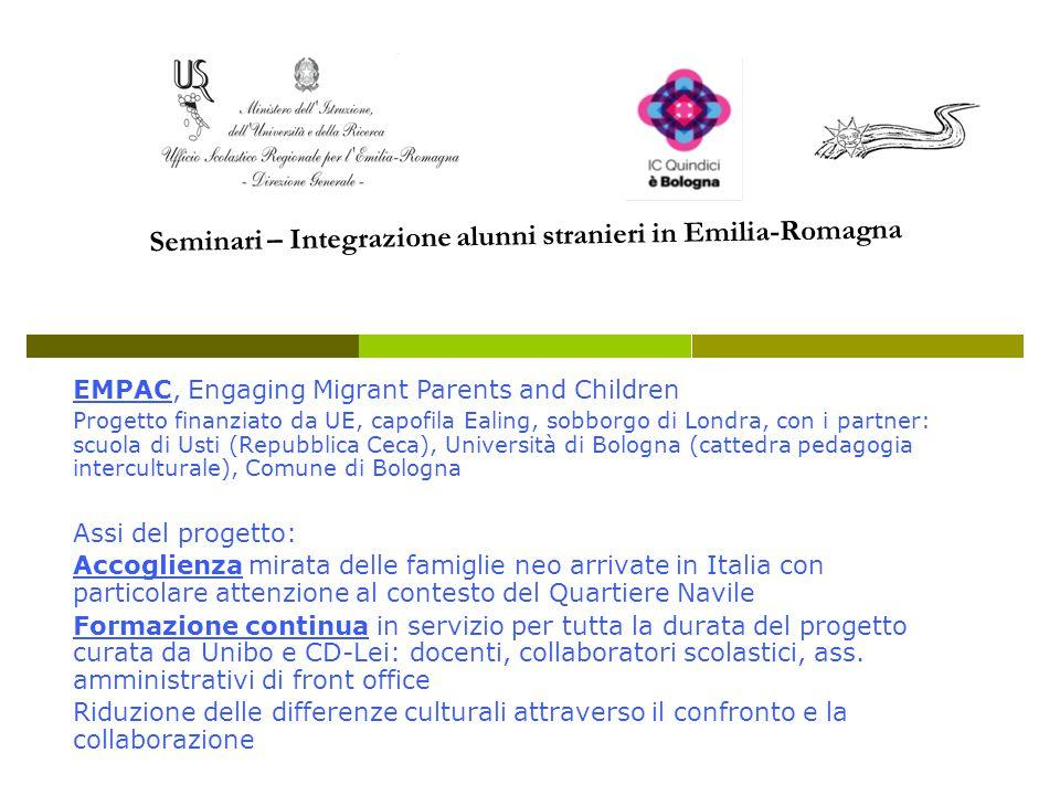 EMPAC, Engaging Migrant Parents and Children Progetto finanziato da UE, capofila Ealing, sobborgo di Londra, con i partner: scuola di Usti (Repubblica