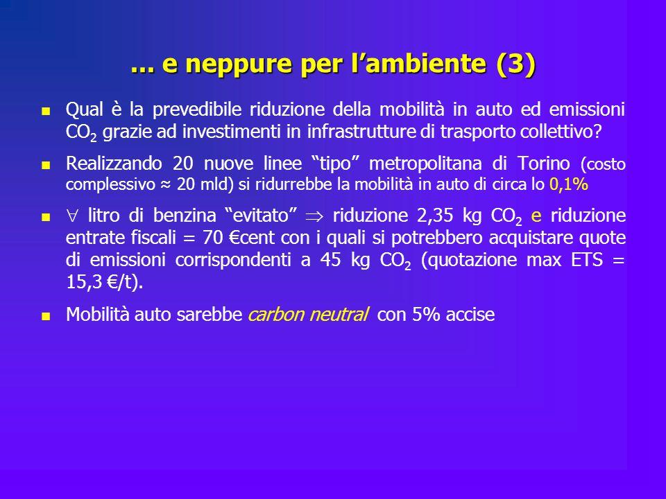 ... e neppure per l'ambiente (3) Qual è la prevedibile riduzione della mobilità in auto ed emissioni CO 2 grazie ad investimenti in infrastrutture di