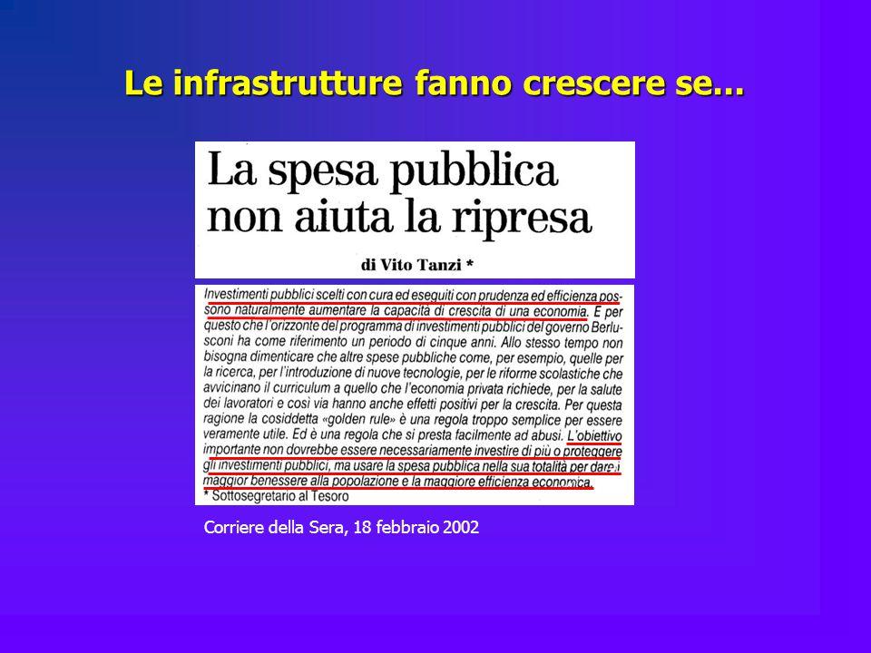 Le infrastrutture fanno crescere se... Corriere della Sera, 18 febbraio 2002