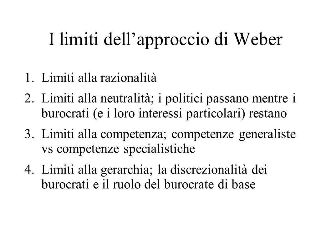 I limiti dell'approccio di Weber 1.Limiti alla razionalità 2.Limiti alla neutralità; i politici passano mentre i burocrati (e i loro interessi partico
