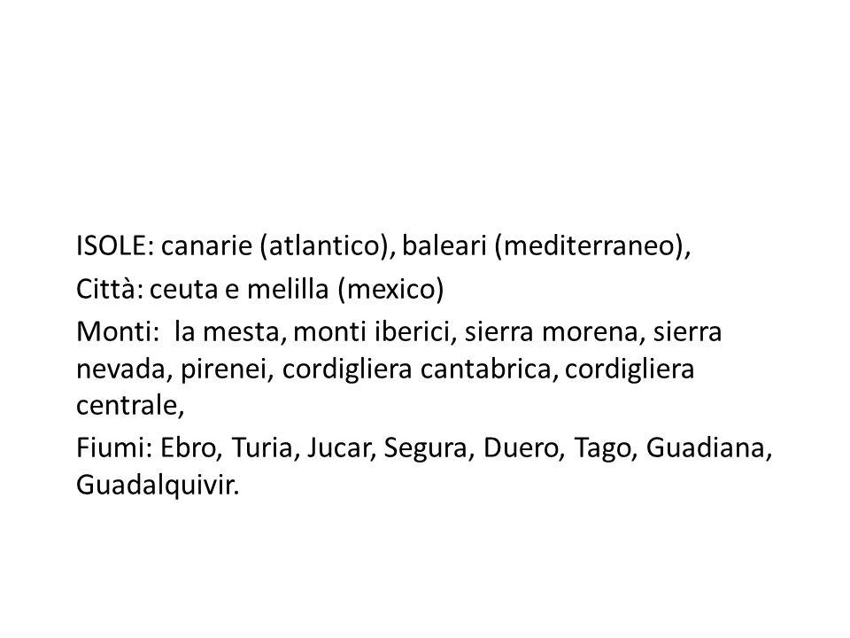 ISOLE: canarie (atlantico), baleari (mediterraneo), Città: ceuta e melilla (mexico) Monti: la mesta, monti iberici, sierra morena, sierra nevada, pire