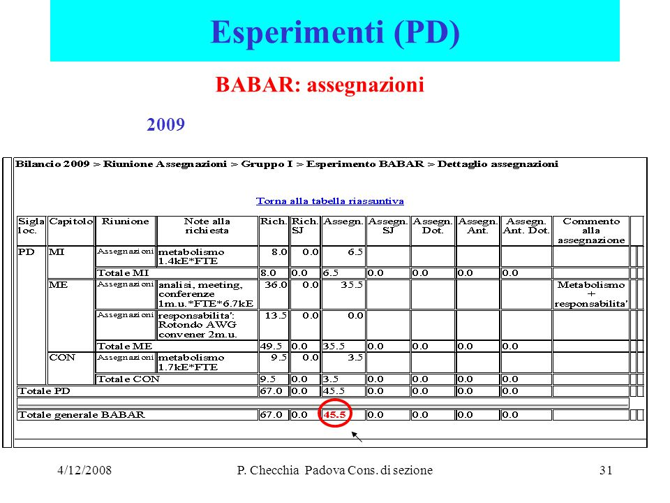 4/12/2008P. Checchia Padova Cons. di sezione31 Esperimenti (PD) BABAR: assegnazioni 2009