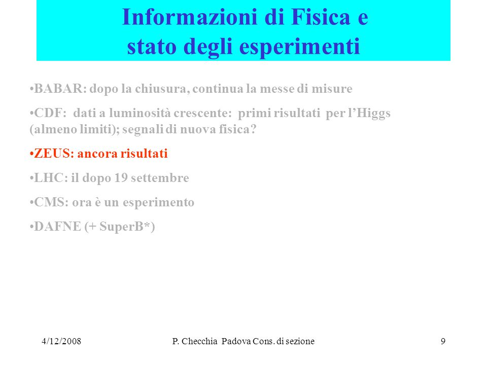 4/12/2008P.Checchia Padova Cons.