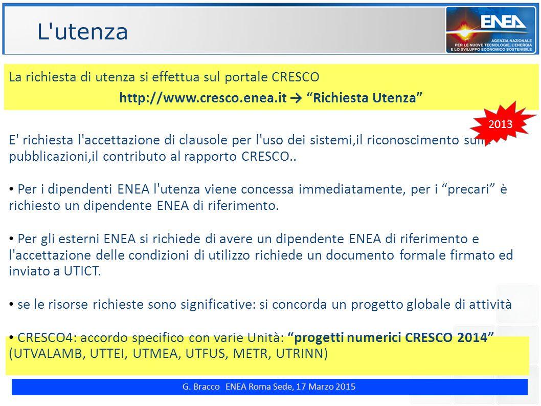 """G. Bracco ENEA Roma Sede, 17 Marzo 2015 ENE L'utenza La richiesta di utenza si effettua sul portale CRESCO http://www.cresco.enea.it → """"Richiesta Uten"""