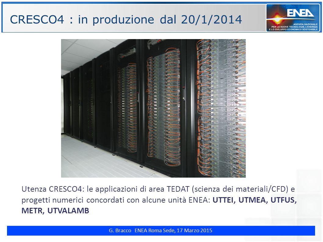 G. Bracco ENEA Roma Sede, 17 Marzo 2015 ENE CRESCO4 : in produzione dal 20/1/2014 Utenza CRESCO4: le applicazioni di area TEDAT (scienza dei materiali