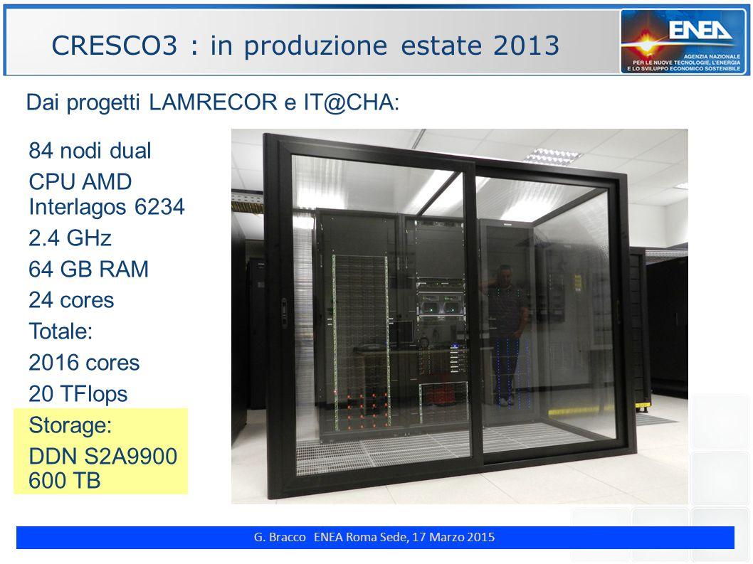 G. Bracco ENEA Roma Sede, 17 Marzo 2015 ENE Dai progetti LAMRECOR e IT@CHA: CRESCO3 : in produzione estate 2013 84 nodi dual CPU AMD Interlagos 6234 2