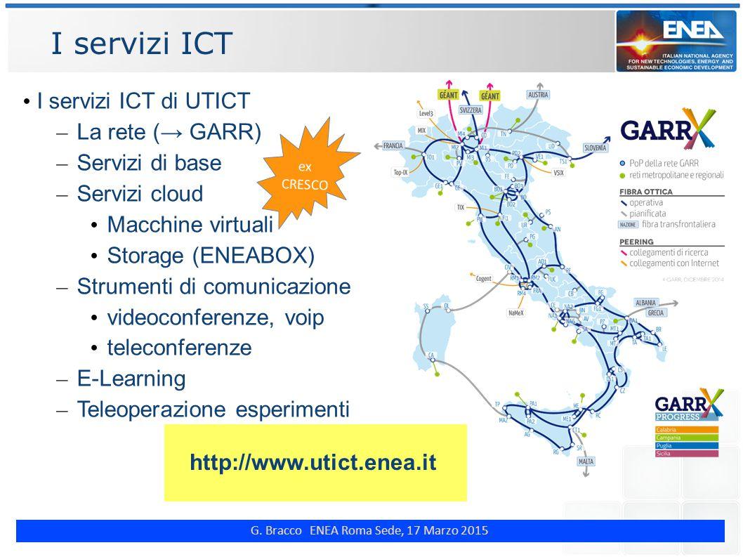 G. Bracco ENEA Roma Sede, 17 Marzo 2015 I servizi ICT http://www.utict.enea.it I servizi ICT di UTICT – La rete (→ GARR) – Servizi di base – Servizi c