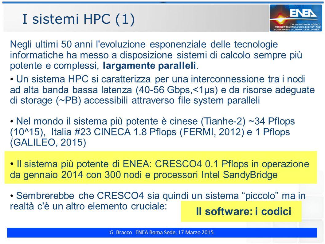 G. Bracco ENEA Roma Sede, 17 Marzo 2015 I sistemi HPC (1) Negli ultimi 50 anni l'evoluzione esponenziale delle tecnologie informatiche ha messo a disp