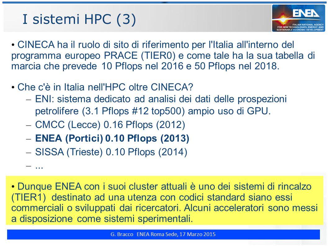 G. Bracco ENEA Roma Sede, 17 Marzo 2015 I sistemi HPC (3) CINECA ha il ruolo di sito di riferimento per l'Italia all'interno del programma europeo PRA
