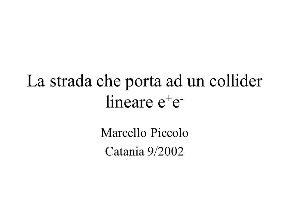 La strada che porta ad un collider lineare e + e - Marcello Piccolo Catania 9/2002