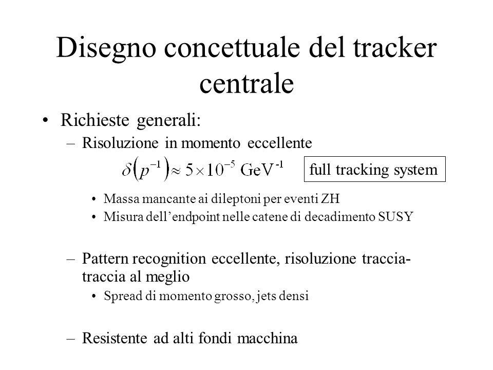 Disegno concettuale del tracker centrale Richieste generali: –Risoluzione in momento eccellente Massa mancante ai dileptoni per eventi ZH Misura dell'