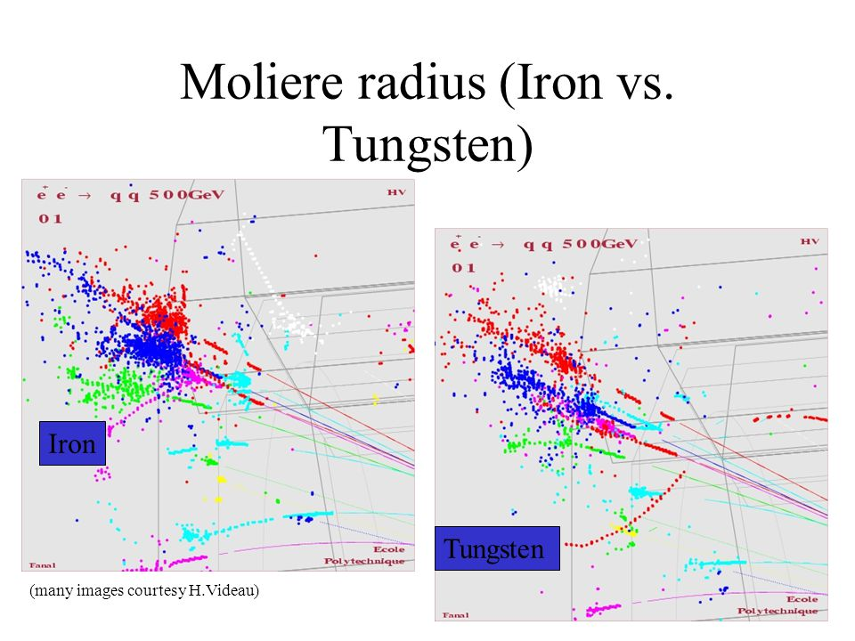 Moliere radius (Iron vs. Tungsten) Iron Tungsten (many images courtesy H.Videau)
