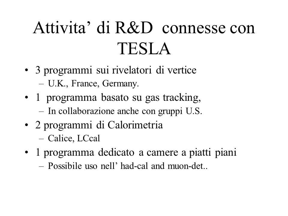 Attivita' di R&D connesse con TESLA 3 programmi sui rivelatori di vertice –U.K., France, Germany. 1 programma basato su gas tracking, –In collaborazio