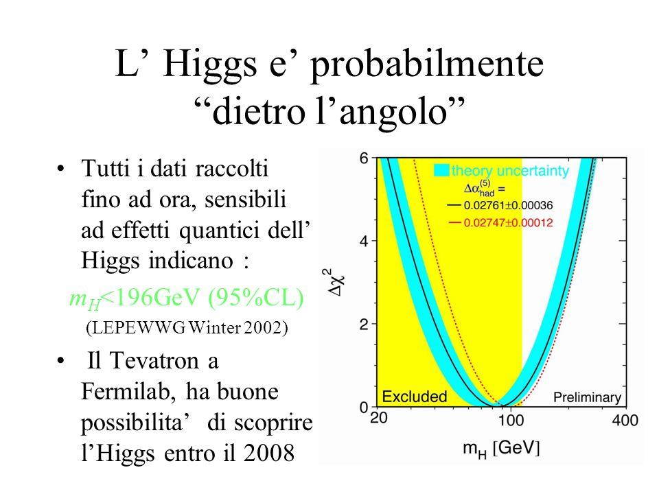 L' Higgs e' probabilmente dietro l'angolo Tutti i dati raccolti fino ad ora, sensibili ad effetti quantici dell' Higgs indicano : m H <196GeV (95%CL) (LEPEWWG Winter 2002) Il Tevatron a Fermilab, ha buone possibilita' di scoprire l'Higgs entro il 2008