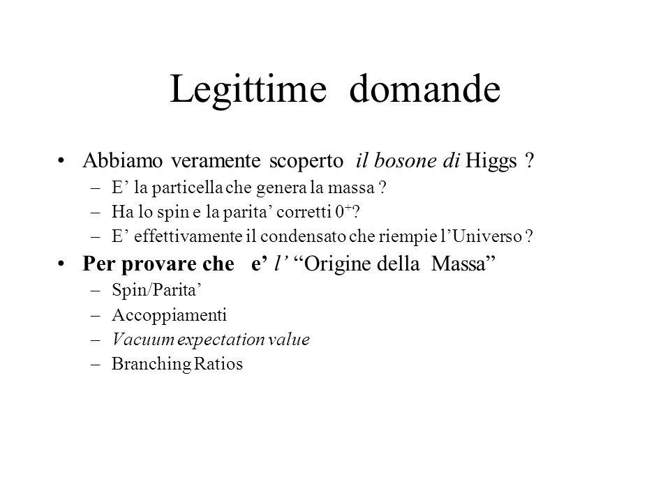 Legittime domande Abbiamo veramente scoperto il bosone di Higgs ? –E' la particella che genera la massa ? –Ha lo spin e la parita' corretti 0 + ? –E'