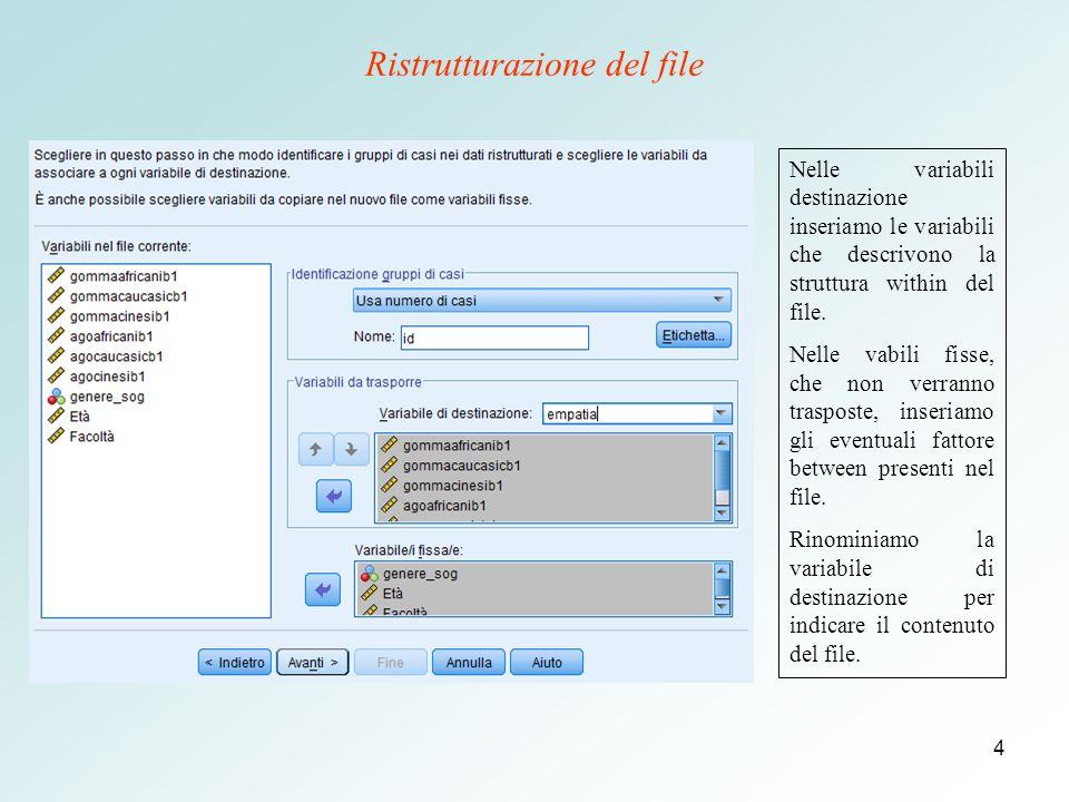 4 Ristrutturazione del file Nelle variabili destinazione inseriamo le variabili che descrivono la struttura within del file.