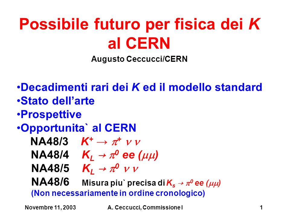 Novembre 11, 2003A. Ceccucci, Commissione I1 Possibile futuro per fisica dei K al CERN Augusto Ceccucci/CERN Decadimenti rari dei K ed il modello stan