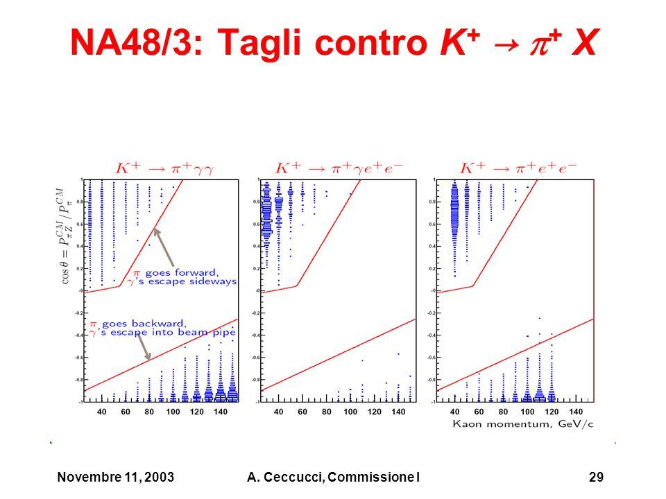 Novembre 11, 2003A. Ceccucci, Commissione I29 NA48/3: Tagli contro K + →  + X