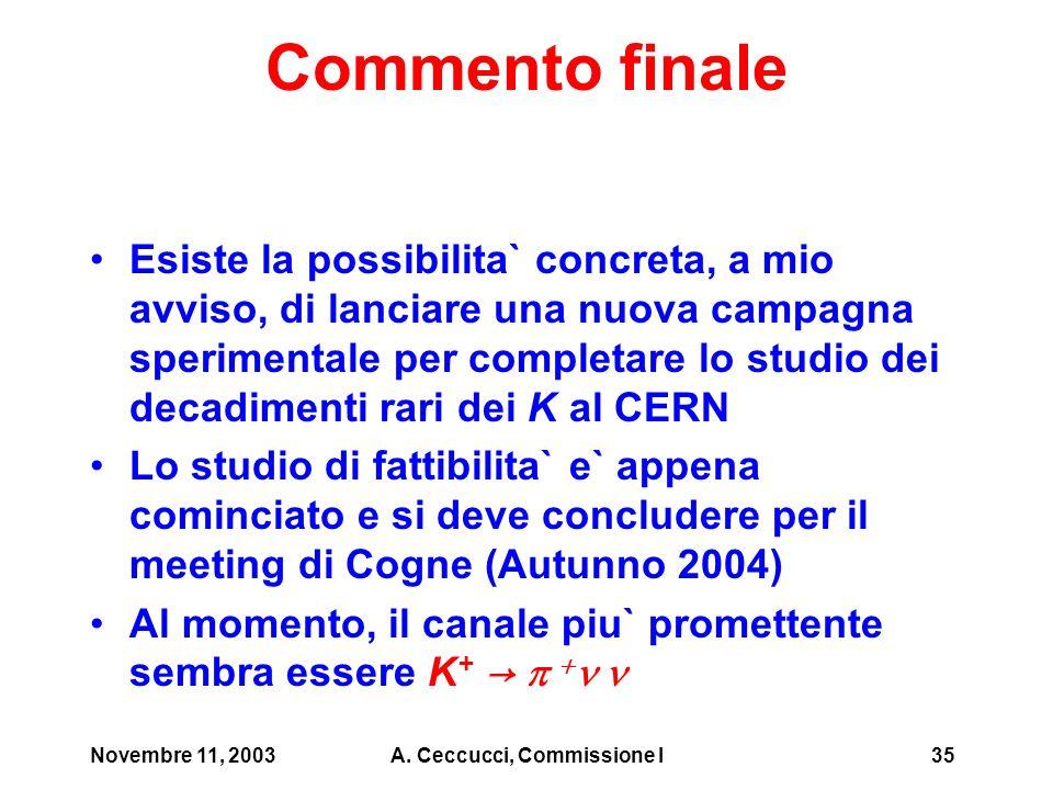 Novembre 11, 2003A. Ceccucci, Commissione I35 Commento finale Esiste la possibilita` concreta, a mio avviso, di lanciare una nuova campagna sperimenta