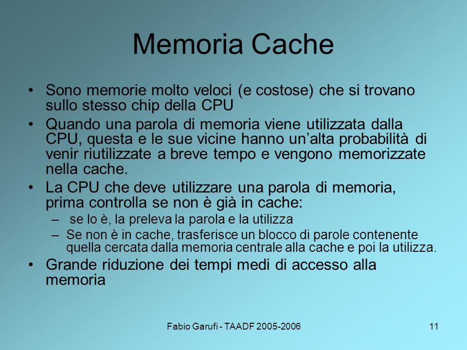 Fabio Garufi - TAADF 2005-200611 Memoria Cache Sono memorie molto veloci (e costose) che si trovano sullo stesso chip della CPU Quando una parola di memoria viene utilizzata dalla CPU, questa e le sue vicine hanno un'alta probabilità di venir riutilizzate a breve tempo e vengono memorizzate nella cache.