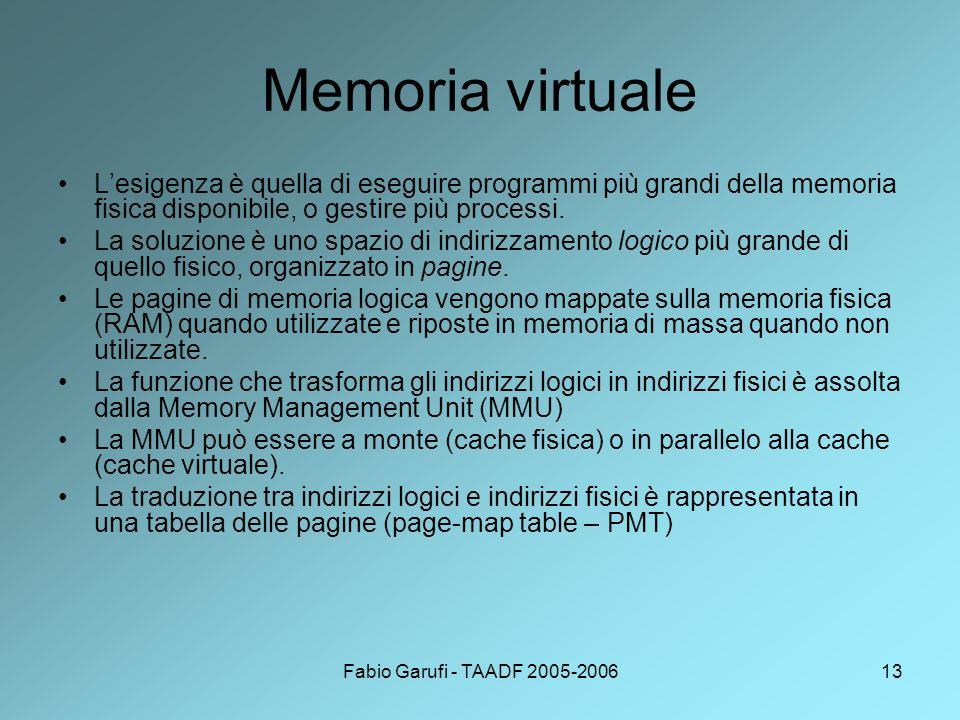 Fabio Garufi - TAADF 2005-200613 Memoria virtuale L'esigenza è quella di eseguire programmi più grandi della memoria fisica disponibile, o gestire più processi.